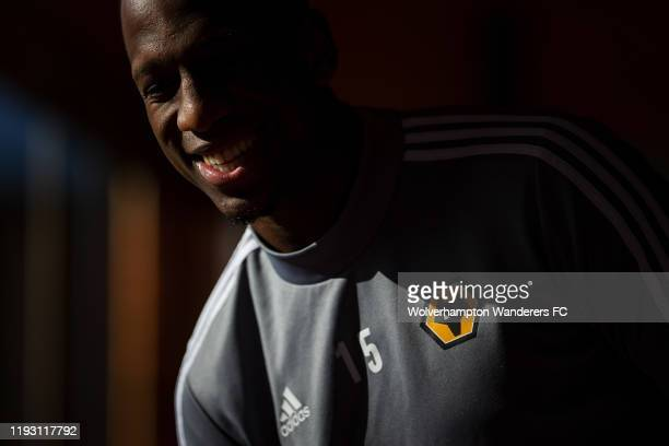 Willy Boly of Wolverhampton Wanderers reacts during Wolverhampton Wanderers training session at Marbella Football Centre on December 10, 2019 in...