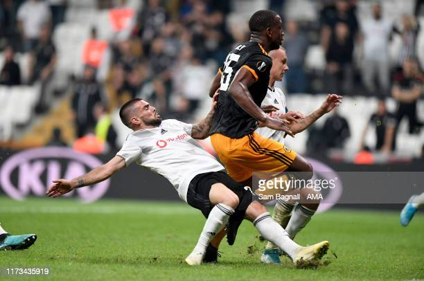 Willy Boly of Wolverhampton Wanderers scores a goal to make it 0-1 during to the UEFA Europa League group K match between Besiktas and Wolverhampton...