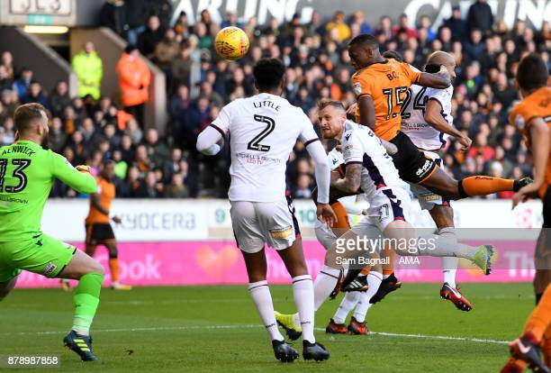 Willy Boly of Wolverhampton Wanderers scores a goal to make it 10 during the Sky Bet Championship match between Wolverhampton and Bolton Wanderers at...