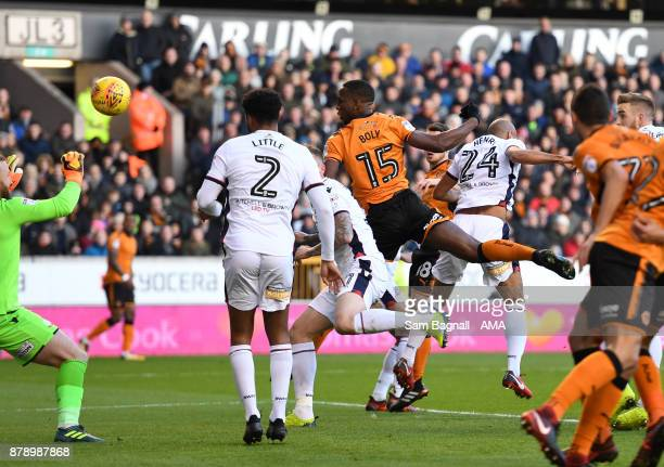 Willy Boly of Wolverhampton Wanderers scores a goal to make it 1-0 during the Sky Bet Championship match between Wolverhampton and Bolton Wanderers...
