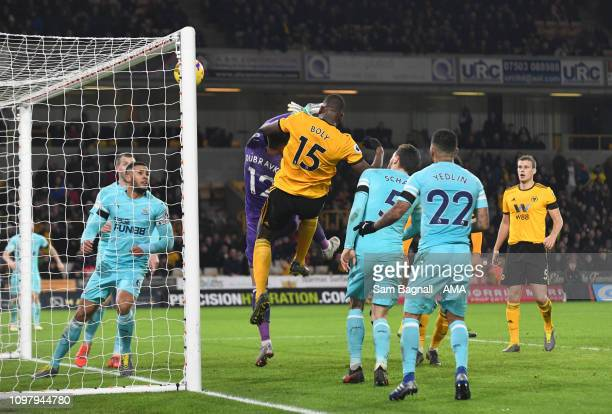 Willy Boly of Wolverhampton Wanderers scores a goal to make it 1-1 during the Premier League match between Wolverhampton Wanderers and Newcastle...