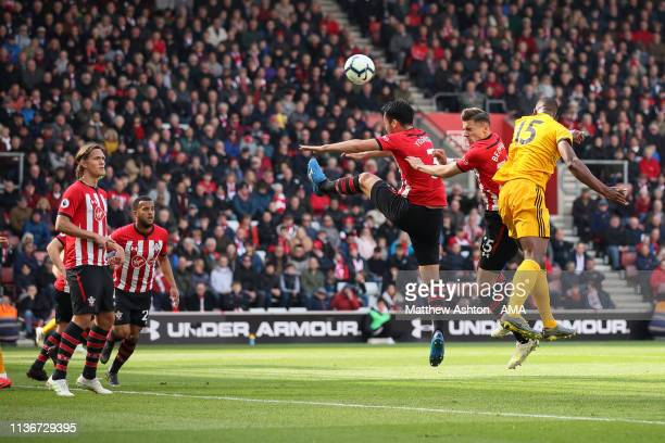 Willy Boly of Wolverhampton Wanderers scores a goal to make it 1-1 during the Premier League match between Southampton FC and Wolverhampton Wanderers...