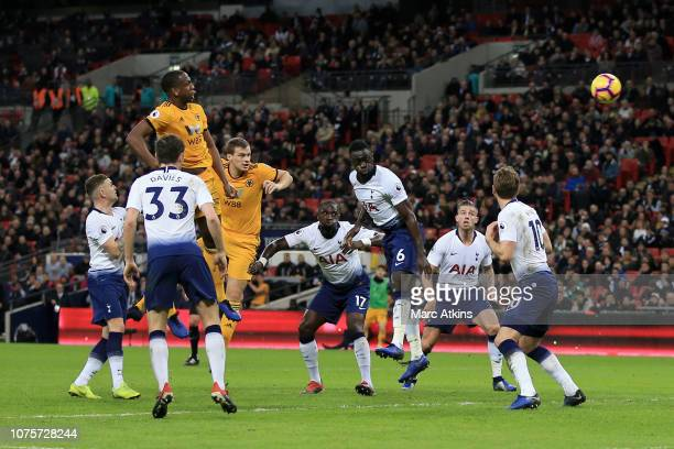 Willy Boly of Wolverhampton Wanderers scores his team's first goal during the Premier League match between Tottenham Hotspur and Wolverhampton...