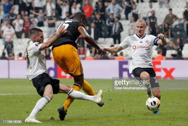 Willy Boly of Wolverhampton Wanderers scores his team's first goal during the UEFA Europa League group K match between Besiktas and Wolverhampton...