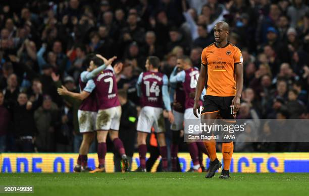 Willy Boly of Wolverhampton Wanderers stands dejected during the Sky Bet Championship match between Aston Villa and Wolverhampton Wanderers at Villa...