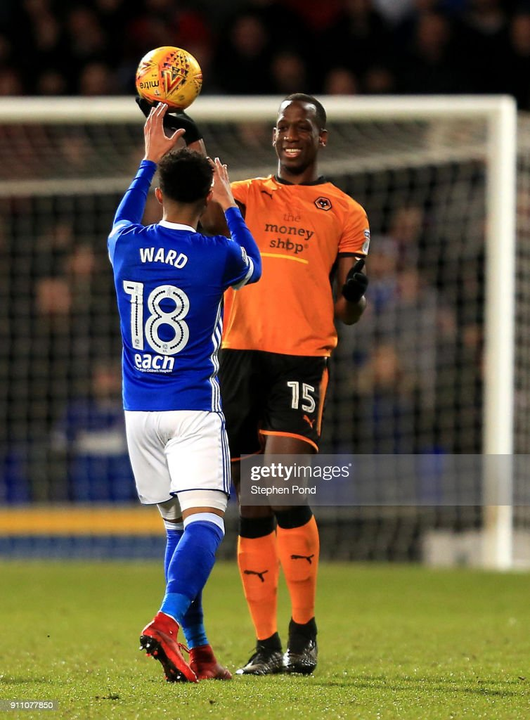 Willy Boly of Woverhampton Wanderers taunts Grant Ward of Ipswich Town with the ball during the Sky Bet Championship match between Ipswich Town and Wolverhampton Wanderers at Portman Road on January 27, 2018 in Ipswich, England.