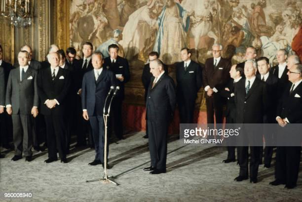 Willy Brandt et Georges Pompidou au Palais de L'Elysée dans les années 70 Paris France