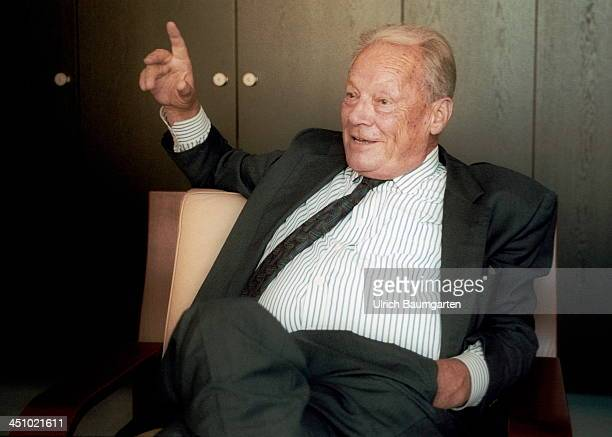 Willy Brandt gestures during an interview on August 30 1991 in Bonn Germany