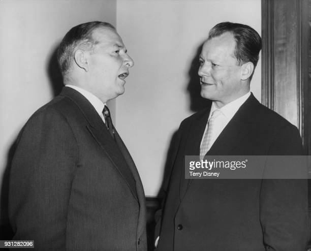 Willy Brandt the Governing Mayor of West Berlin speaks to British Foreign Secretary Selwyn Lloyd in London during a fourday official visit to England...