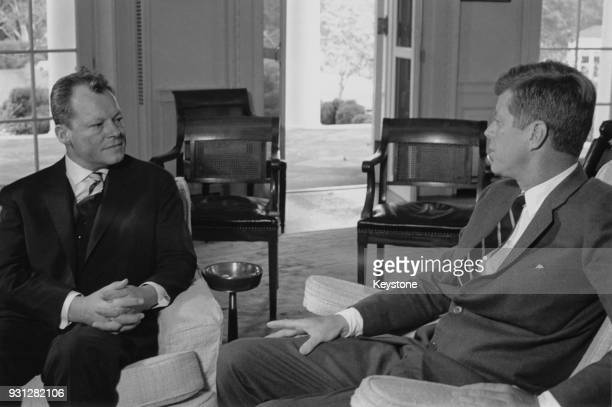 Willy Brandt the Governing Mayor of West Berlin with US President John F Kennedy in the White House during Brandt's visit to Washington DC 8th...