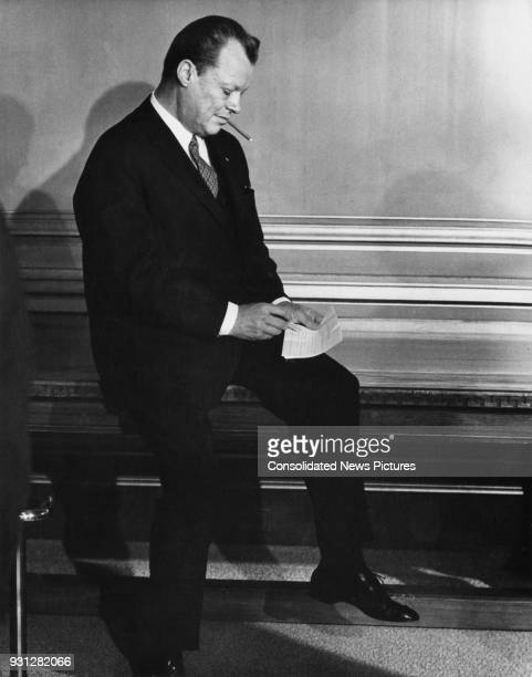 Willy Brandt the West German Foreign Minister and honorary President of NATO awaits the arrival of US President Richard Nixon in an anteroom in...
