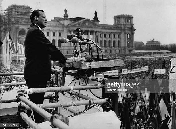 Willy Brandt*German politician 195766 Governing mayor of Berlin196974 German chancellorBrandt speaking on the Labour Day rally in Berlin in the...