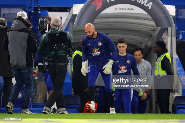 Willy Caballero and Kepa Arrizabalaga of Chelsea walk out ahead of the Premier League match between Chelsea FC and Tottenham Hotspur at Stamford...