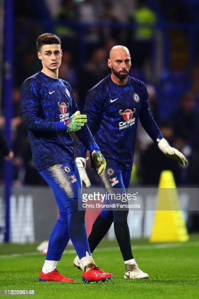 Willy Caballero and Kepa Arrizabalaga of Chelsea warm up ahead of the Premier League match between Chelsea FC and Tottenham Hotspur at Stamford...