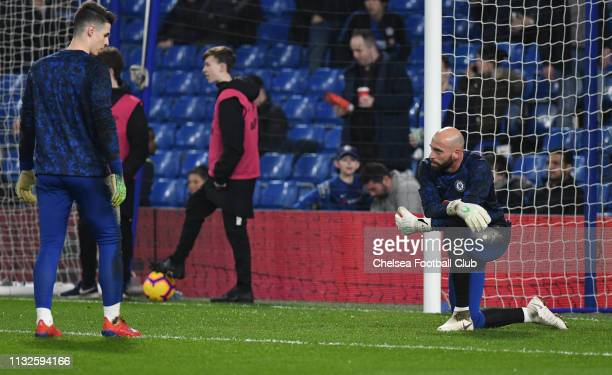 Willy Caballero and Kepa Arrizabalaga of Chelsea warm up prior to the Premier League match between Chelsea FC and Tottenham Hotspur at Stamford...