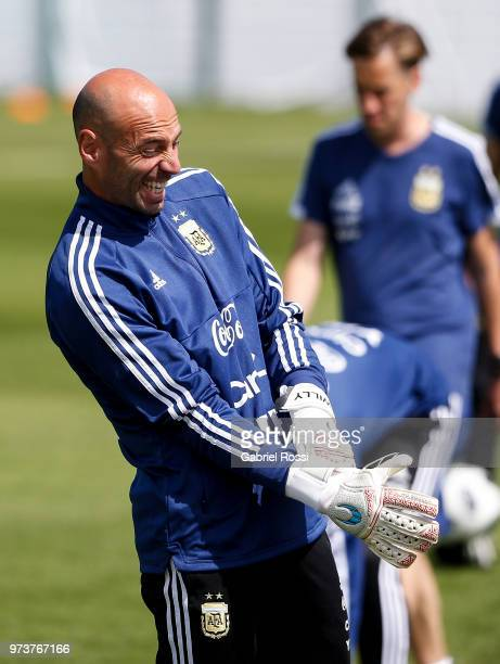 Willy Caballero of Argentina gets ready prior to a training session at Training site at Stadium of Syroyezhkin Sports School on June 12 2018 in...