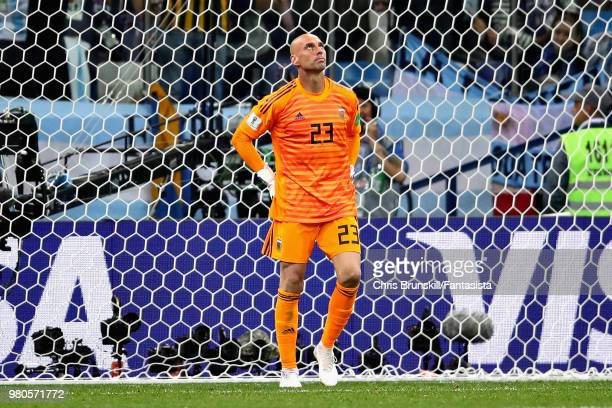 Willy Caballero of Argentina looks dejecte after conceding Croatias first goal during the 2018 FIFA World Cup Russia group D match between Argentina...