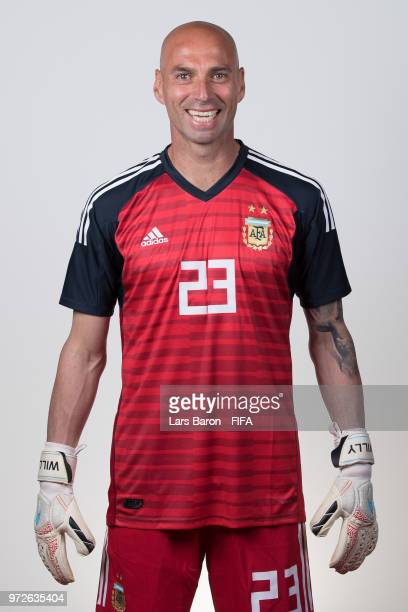 Willy Caballero of Argentina poses for a portrait during the official FIFA World Cup 2018 portrait session on June 12 2018 in Moscow Russia