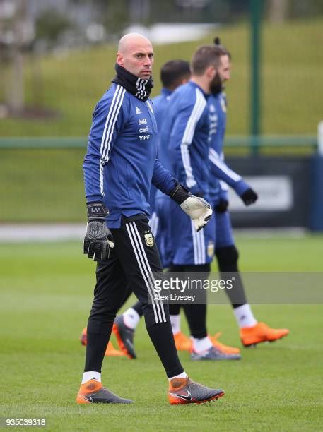 Willy Caballero of Argentina walks out for an Argentina training session at Manchester City Football Academy on March 20 2018 in Manchester England