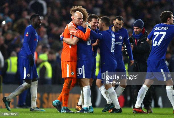 Willy Caballero of Chelsea and David Luiz of Chelsea celebrate victory during The Emirates FA Cup Third Round Replay between Chelsea and Norwich City...