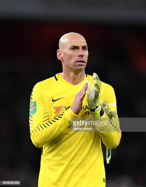 Willy Caballero of Chelsea applauds supporters during the Carabao Cup SemiFinal Second Leg at Emirates Stadium on January 24 2018 in London England