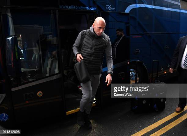 Willy Caballero of Chelsea arrives at the stadium prior to The Emirates FA Cup Fourth Round match between Chelsea and Newcastle on January 28 2018 in...