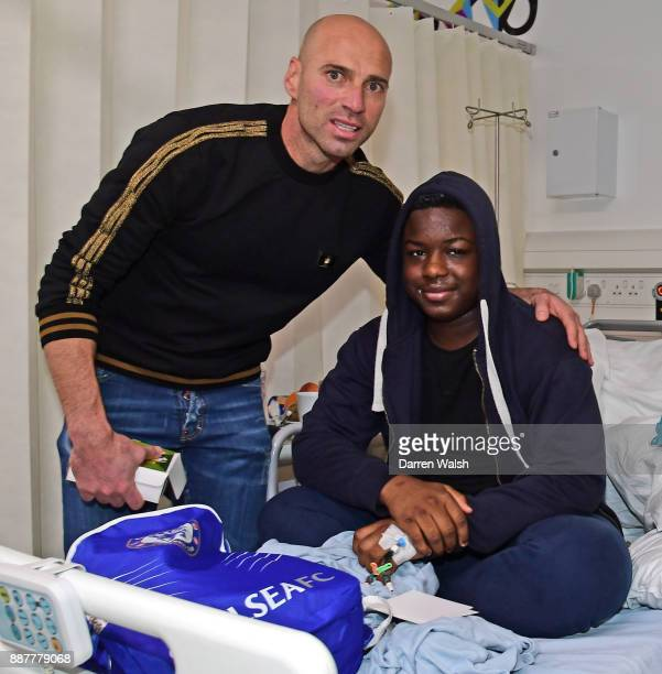 Willy Caballero of Chelsea at the Chelsea and Westminster Christmas Hospital visit on December 7 2017 in London England