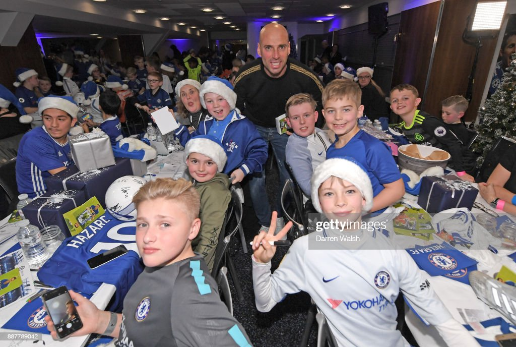Willy Caballero of Chelsea at the Chelsea FC kids Christmas party December 7, 2017 in London, England.