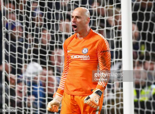 Willy Caballero of Chelsea celebrates after saving a penalty from Nelson Oliveira of Norwich City during The Emirates FA Cup Third Round Replay...