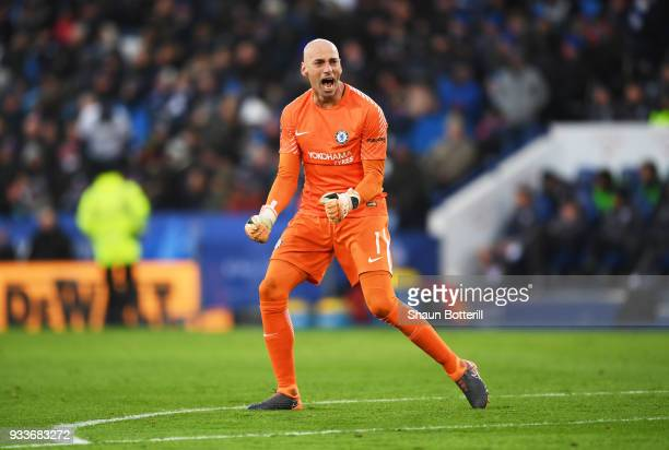 Willy Caballero of Chelsea celebrates as Alvaro Morata of Chelsea scores their first goal during The Emirates FA Cup Quarter Final match between...