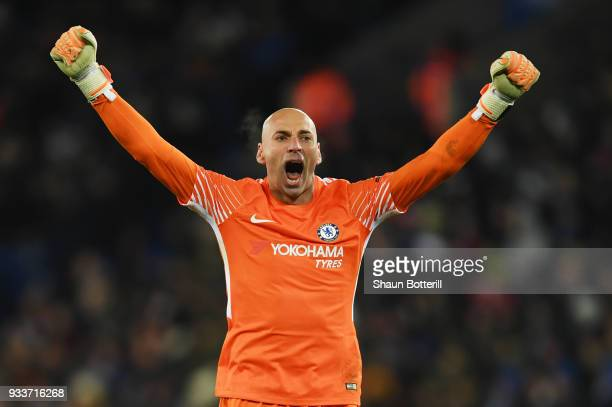 Willy Caballero of Chelsea celebrates as Pedro of Chelsea scores their second goal during The Emirates FA Cup Quarter Final match between Leicester...