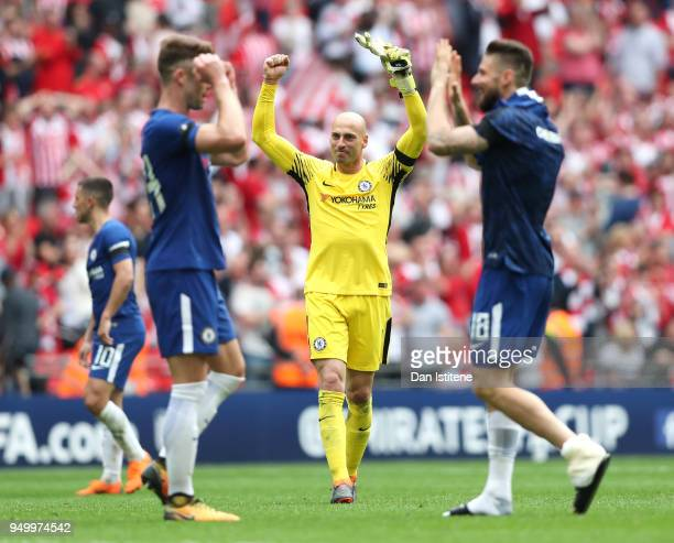 Willy Caballero of Chelsea celebrates following the The Emirates FA Cup Semi Final match between Chelsea and Southampton at Wembley Stadium on April...