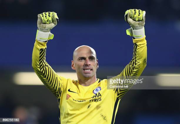 Willy Caballero of Chelsea celebrates victory after the Carabao Cup QuarterFinal match between Chelsea and AFC Bournemouth at Stamford Bridge on...