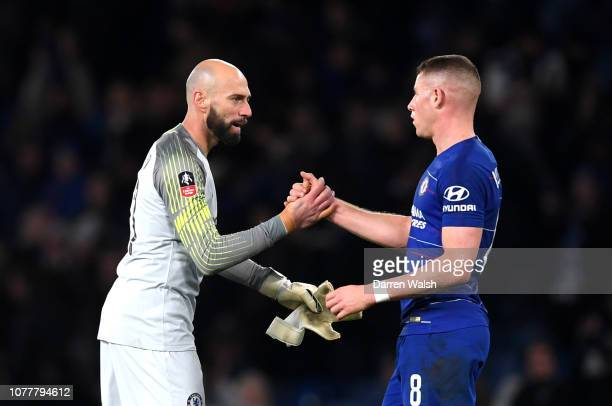 Willy Caballero of Chelsea celebrates victory with Ross Barkley of Chelsea after the FA Cup Third Round match between Chelsea and Nottingham Forest...