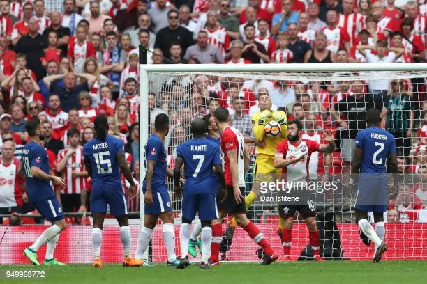 Willy Caballero of Chelsea drops the ball during the The Emirates FA Cup Semi Final match between Chelsea and Southampton at Wembley Stadium on April...