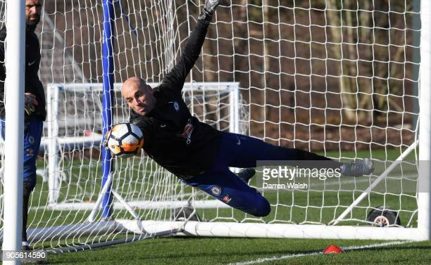 Willy Caballero of Chelsea during a training session at Chelsea Training Ground on January 16 2018 in Cobham England