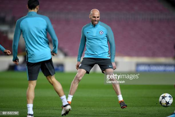 Willy Caballero of Chelsea during a training session at Nou Camp on March 13 2018 in Barcelona Spain