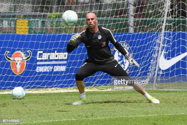 Willy Caballero of Chelsea during a training session at Singapore American School on July 24 2017 in Singapore