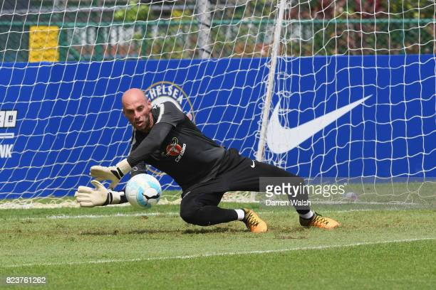 Willy Caballero of Chelsea during a training session at Singapore American School on July 28 2017 in Singapore