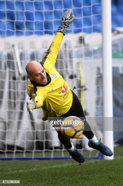 Willy Caballero of Chelsea during a training session at Stamford Bridge on November 17 2017 in London England