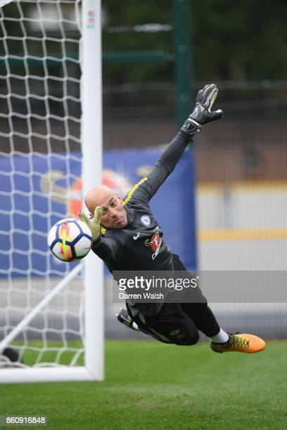 Willy Caballero of Chelsea during a training session at the Cobham Training Ground on October 13 2017 in Cobham England