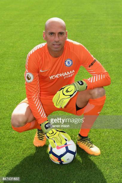 Willy Caballero of Chelsea during the Chelsea Squad Photocall at Chelsea Training Ground on September 15 2017 in Cobham England