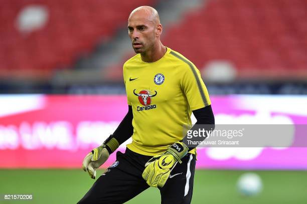 Willy Caballero of Chelsea FC looks during a Chelsea FC International Champions Cup training session at National Stadium on July 24 2017 in Singapore