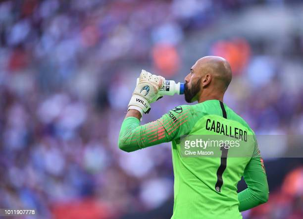 Willy Caballero of Chelsea in action during the FA Community Shield match between Manchester City and Chelsea at Wembley Stadium on August 5 2018 in...
