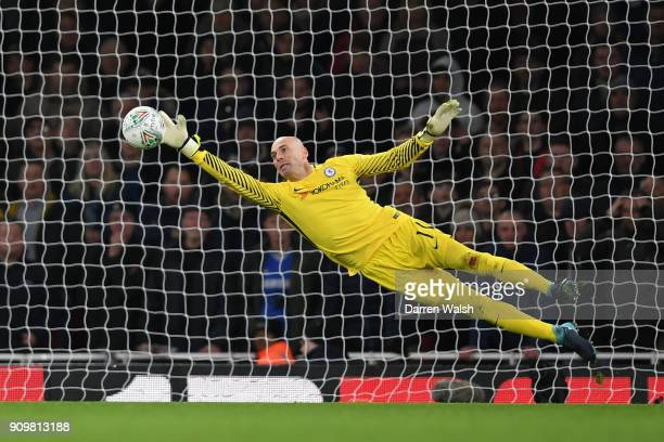 Willy Caballero of Chelsea makes a save during the Carabao Cup SemiFinal Second Leg at Emirates Stadium on January 24 2018 in London England