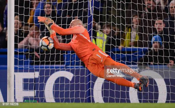 Willy Caballero of Chelsea makes a save during the Emirates FA Cup Fifth Round match between Chelsea and Hull City at Stamford Bridge on February 16...