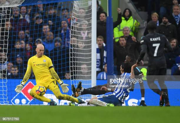 Willy Caballero of Chelsea makes a save during the Premier League match between Brighton and Hove Albion and Chelsea at Amex Stadium on January 20...