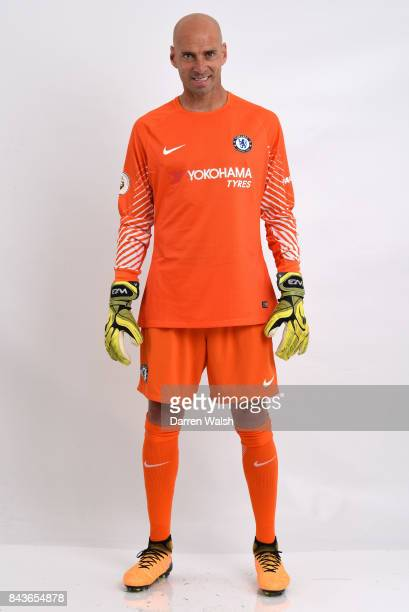 Willy Caballero of Chelsea poses during the Chelsea photo call at Chelsea Training Ground on August 8 2017 in Cobham England