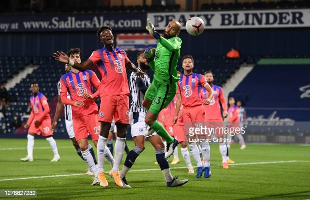 Willy Caballero of Chelsea reaches for the ball during the Premier League match between West Bromwich Albion and Chelsea at The Hawthorns on...