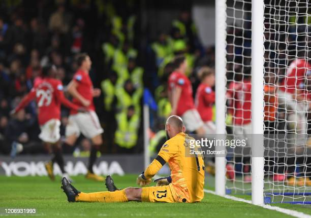 Willy Caballero of Chelsea reacts after Harry Maguire of Manchester United scores his sides second goal during the Premier League match between...